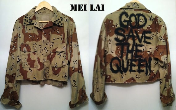 Spiked God Save The Queen Army Jacket