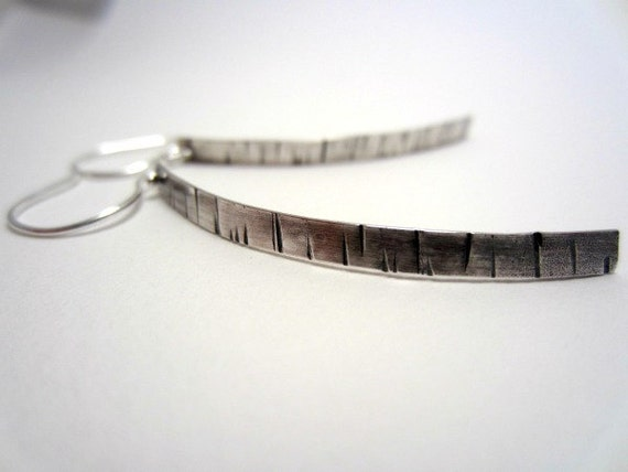Curvy Sterling Silver Flutter Earrings, Bark Texture, Oxidized and Shiny