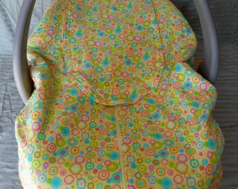 Yellow Flannel with Circles Squares and Cream Fleece Infant Car Seat Cover Baby Boy Girl Gender Neutral - Clearanced