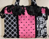 Black and Hot Pink Cotton Fabric Bible Cover