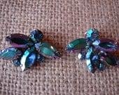 SALE! Gorgeous Dark Blue Aurora Borealis Clip on Earrings