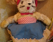 Vintage  Stuffed Mrs. Easter Bunny Rabbit dressed in Anthropologie inspired clothes