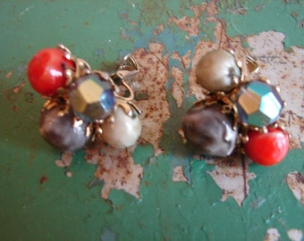 Cool and Colorful Vintage Clip on Earrings by VOGUE