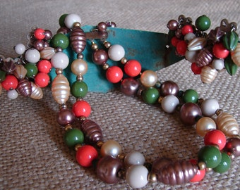 Vintage Orange Brown and Green Choker and Earrings