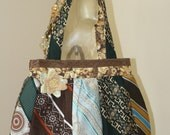 Upcycled vintage brown and green tie purse-reserved for Jennie