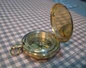 Working Brass Push Button Pocket Watch Style Compass, Gold Push Button Compass, Gold Compass, Gold Lidded Compass, Lidded Compass