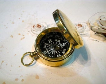 Functioning Brass Compass Charm Pendant, Gold Compass, Compass With Lid, Father's Day Gift, Teacher Gift, Graduation Gift, Boyfriend Gift