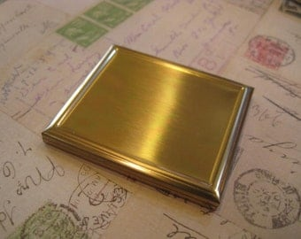 Vintage Brass Mirrored Compact, Ready to Embellish, Vintage Gold Compact, Vintage Gold Mirror, Gold Mirror, Gold Compact, Gift for Her
