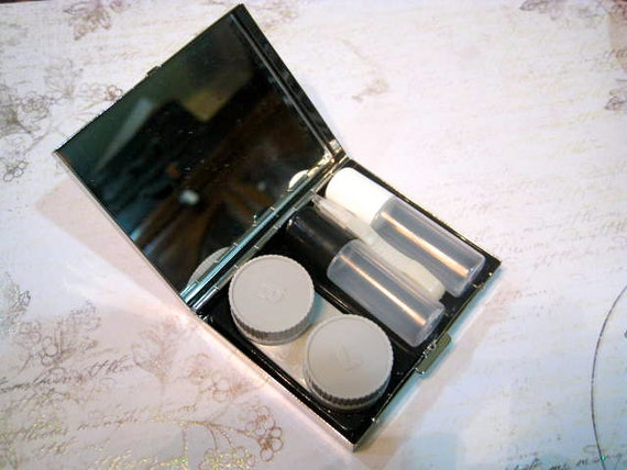 Contact Lens Mirrored Case Ready for You to Decorate, Contact Lens Case, Contact Case Silver, Silver Contact Lenses Case, Case for Contacts