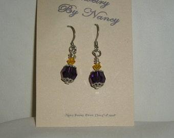 E0031 purple & yellow glass bead earrings