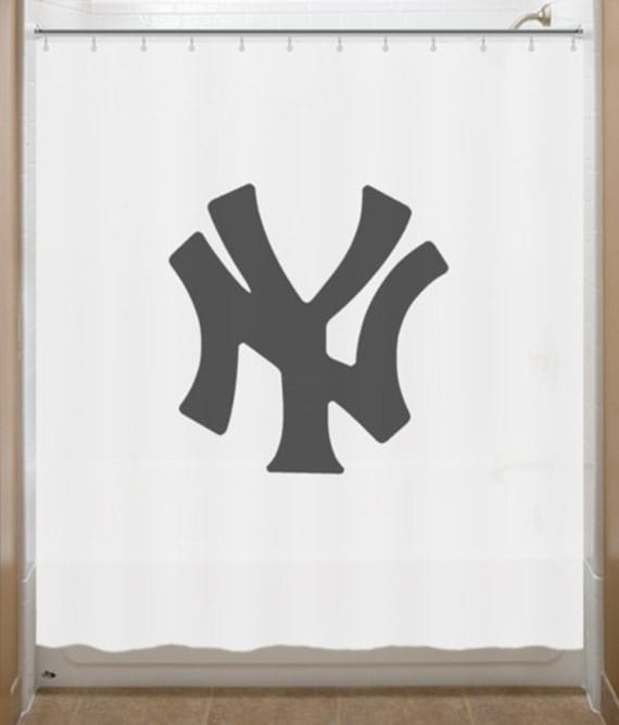 Baseball shower curtain new york yankees by showercurtains for Yankees bathroom decor