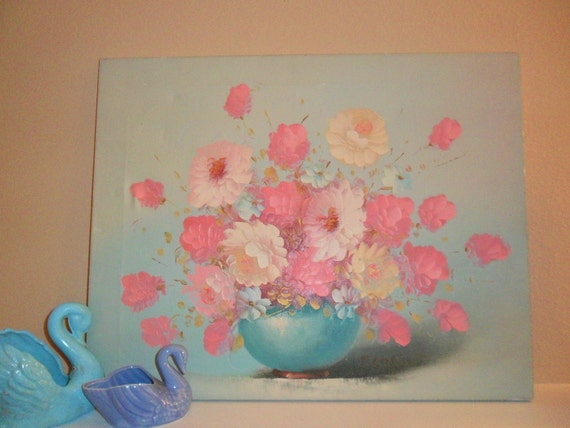 Pretty In Pink - Flowers in Vase Oil Painting on Canvas