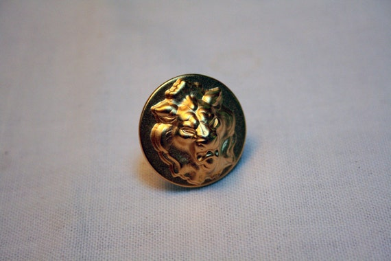 Lion Heart Vintage Button Ring
