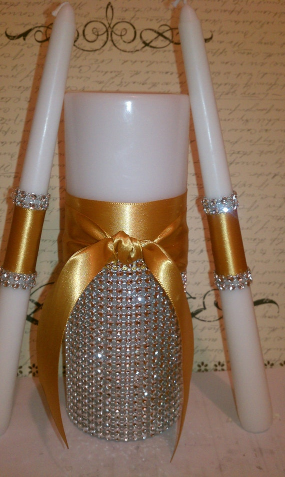 Couture Bling Satin Unity Candles Set Without wording