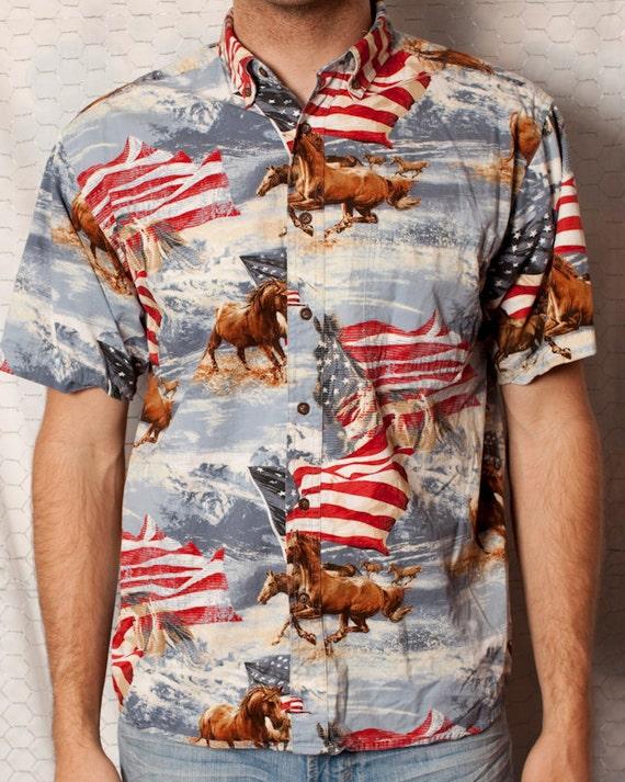 Sweet American Flag Wild Horses Button Shirt - L