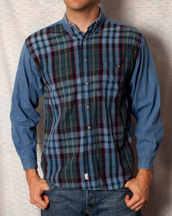 Button Up Denim and Plaid Long-Sleeved Shirt - On The Brink - M