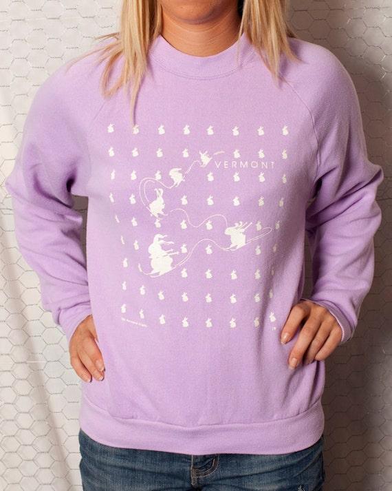 1980's Lavender - VERMONT - Snow Bunnies Sweatshirt - M