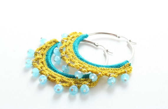 Small Crochet Gypsy Dance Hoop Teal, Mustard and Aqua Blue Glass Beads