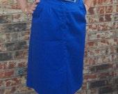 Sailor Girl: 70s Classic Blue High Waisted Nautical Preppy Pencil Skirt