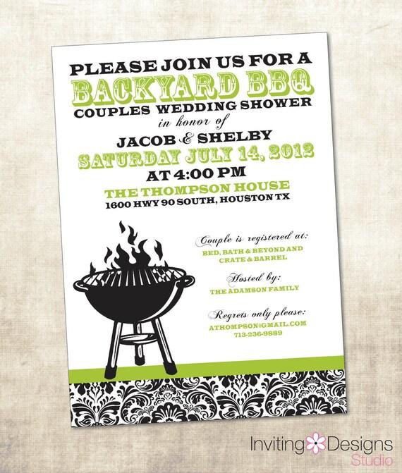 BBQ Wedding Shower Invitation, Couples Shower Invitation (PRINTABLE FILE)
