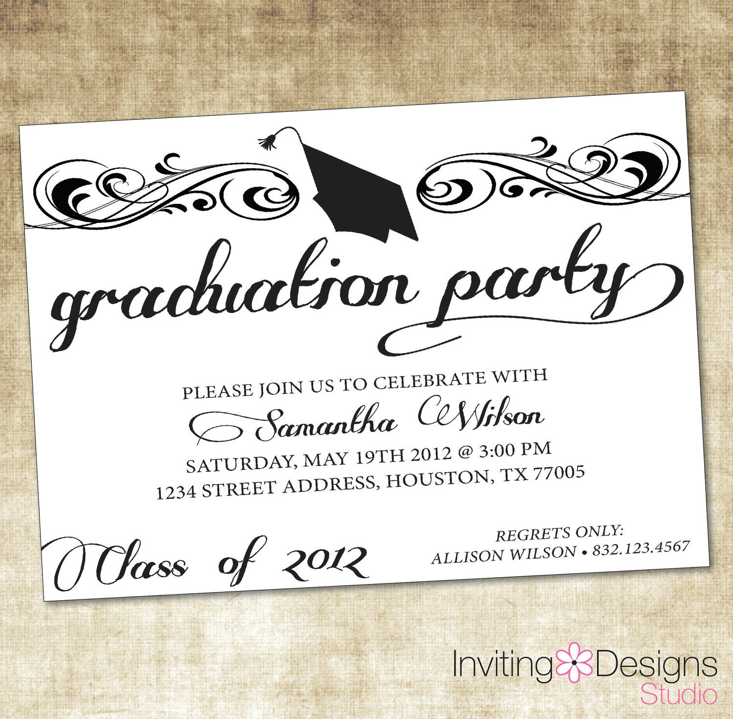 Sassy image intended for printable graduation party invitations