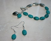 Oval Turquoise Silver  Bracelet and Earrings -SALE TAKE 20% OFF