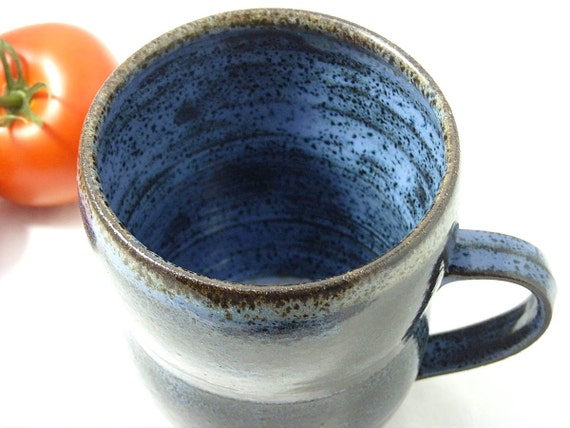 Extra Large Mug / Stein made from black clay and glazed in blue