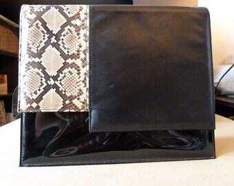 PIN UP BOMBSHELL 1940s to 1980s python snakeskin black and patent leather bag, handbag, purse