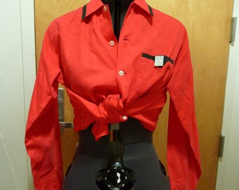 1950s DEADSTOCK Red and black ROCKABILLY shirt