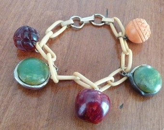 Rarest APPLES and FLOWERS 1920s BAKELITE fruit and flora on celluloid chain