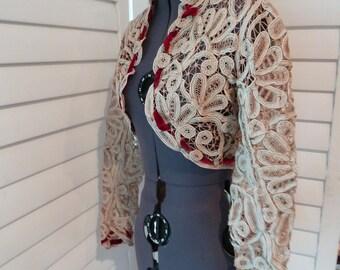 1800s BATTENBURG LACE shrug or bolero with red velvet details