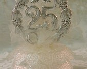 Vintage Wilton Silver 25th Anniversary Wedding Cake Topper
