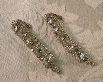 Vintage Cascading Rhinestone Stud Clip On Earrings