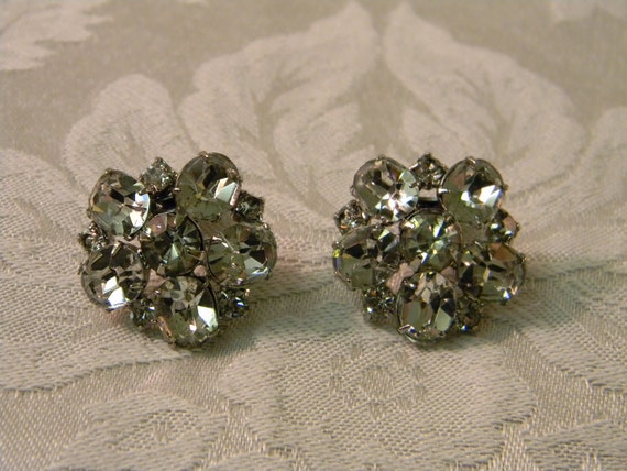 Vintage Rhinestone Clip On Earrings or Shoe Clips