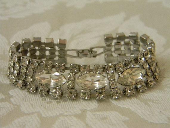 Vintage Marquis Rhinestone Cuff Bracelet