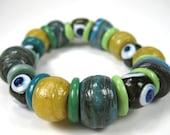 Handmade Green Blue Yellow Evil Eye Glass Bead Bracelet