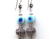 Handmade Blue and White Glass Evil Eye Bead Earrings