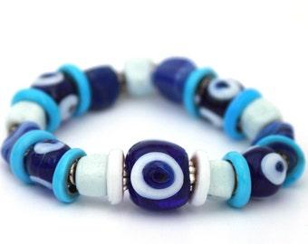 Blue White Handmade Glass Evil Eye Bead Bracelet