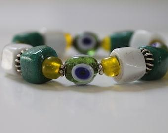 Green, White & Yellow Handcrafted Glass Bead Bracelet - Artisan evil eye glass beads bracelet