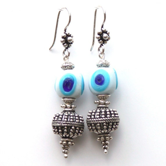 Handmade Blue and White Glass Evil Eye Bead Earrings