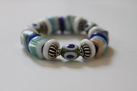 Pastel Glass Bead Bracelet - Artisan Evil Eye Glass beads Blue White Green, Good Luck Evil Eye Bracelet
