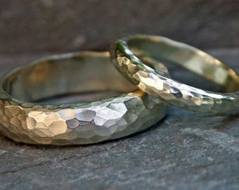 WEDDING RING SET -  Heavy textured 18ct white gold - hammered rings. his & hers. wedding bands