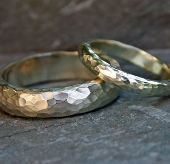 WEDDING BAND SET -  Heavy textured 9ct white gold - Hammered rings. his & hers