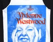 "Dame Vivienne Westwood Queen Of Punk Fashion Kate Moss Indie Pop Rock Retro Tank Top Unisex White 40"" L"