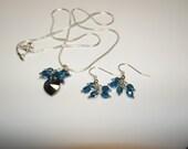 swarovski crystal heart pendant and earrings set