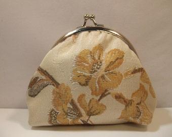 Fabric Coin Purse, cream colour, floral, medium size