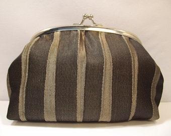 Change Purse, small make up bag, stripy, handmade