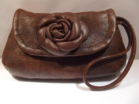 Leather Wristlet/Clutch Bag, floral, brown