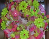 Deco Mesh Pink and Green Summer Wreath (SALE REDUCED From 99 TO 75)