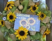 Deco Mesh SUNSHINE and SUNFLOWERS SUMMER Wreath or Mother's Day Wreath